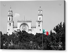Acrylic Print featuring the photograph Mexico Flag On Merida Cathedral San Ildefonso Town Square Color Splash Black And White by Shawn O'Brien