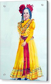 Mexico Srta In Yellow Acrylic Print by Estela Robles