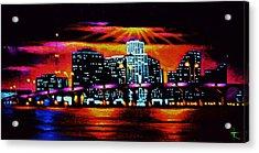 Miami By Black Light Acrylic Print by Thomas Kolendra
