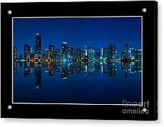 Miami Skyline Night Panorama Acrylic Print by Carsten Reisinger