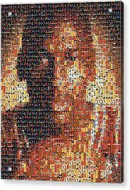 Michael Jordan Card Mosaic 1 Acrylic Print by Paul Van Scott