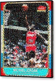 Michael Jordan Rookie Mosaic Acrylic Print by Paul Van Scott