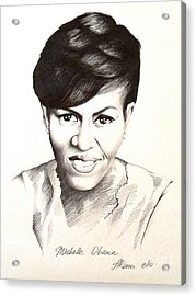 Michelle Obama Acrylic Print by A Karron