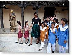 Michelle Obama Accompanied By Children Acrylic Print