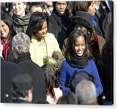 Michelle Obama And Daughters Malia Acrylic Print by Everett