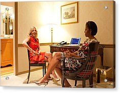 Michelle Obama And Dr. Jill Biden Wait Acrylic Print by Everett