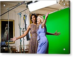 Michelle Obama And Jill Biden Joke Acrylic Print by Everett