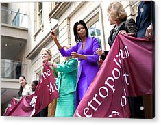 Michelle Obama Cuts The Ribbon Acrylic Print by Everett