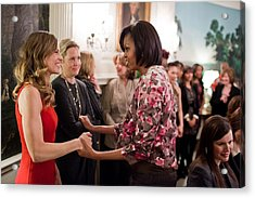 Michelle Obama Greets Actress Hilary Acrylic Print