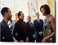 Michelle Obama Greets John Legend Acrylic Print by Everett