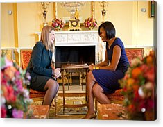 Michelle Obama Greets Mrs. Ada Acrylic Print by Everett