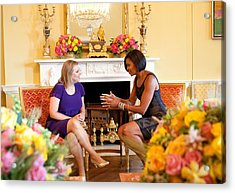 Michelle Obama Has Tea With Sara Acrylic Print by Everett