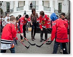 Michelle Obama Holds A Lets Move Acrylic Print