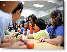 Michelle Obama Joins Students Acrylic Print by Everett
