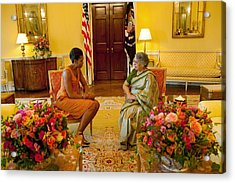 Michelle Obama Meets With Mrs Acrylic Print