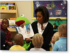 Michelle Obama Reads The Cat In The Hat Acrylic Print by Everett