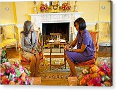 Michelle Obama Talks With Elizabeth Acrylic Print
