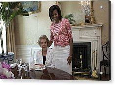 Michelle Obama Visits With Former First Acrylic Print by Everett