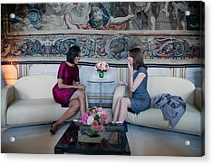 Michelle Obama With Carla Bruni-sarkozy Acrylic Print by Everett