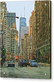 Michigan Avenue Acrylic Print by Vladimir Rayzman