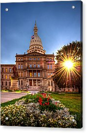 Michigan Capitol - Hdr - 2 Acrylic Print by Larry Carr