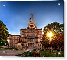 Michigan Capitol - Hdr-1 Acrylic Print by Larry Carr