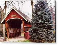 Michigan Red Covered Bridge Nature Landscape Winter Trees Red Bridge Acrylic Print