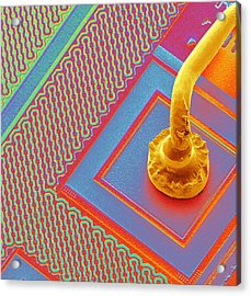 Microchip Connecting Wire, Sem Acrylic Print by Power And Syred