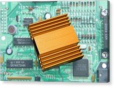 Microchip Processor Heat Sink Acrylic Print by Sheila Terry