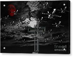 Midnight Raid Under The Red Moonlight Acrylic Print