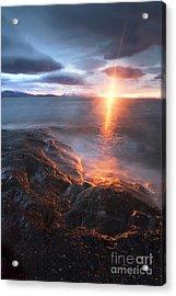 Midnight Sun Over Vågsfjorden Acrylic Print by Arild Heitmann