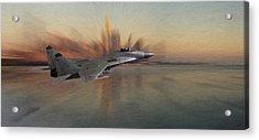 Mig 29 Approaching Acrylic Print by Steve K