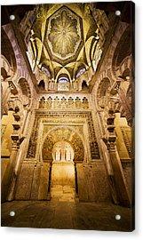 Mihrab And Ceiling Of Mezquita In Cordoba Acrylic Print by Artur Bogacki