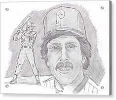 Acrylic Print featuring the drawing Mike Schmidt by Chris  DelVecchio