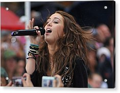 Miley Cyrus On Stage For Nbc Today Show Acrylic Print by Everett