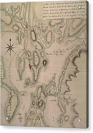 Military Plan Of The North Part Of Rhode Island Acrylic Print by English School