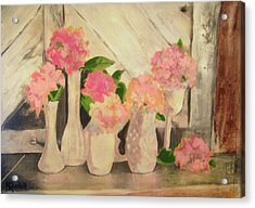 Milk Glass Vases With Flowers Acrylic Print by Kemberly Duckett