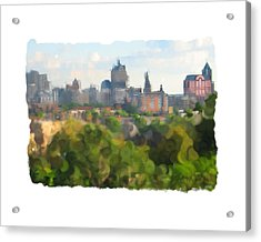 Milwaukee From Resevoir Park Acrylic Print by Geoff Strehlow