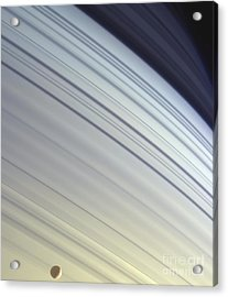 Mimas Drifts Along In Its Orbit Acrylic Print by Stocktrek Images