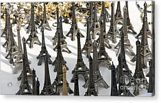 Miniature Eiffel Tower Souvenir. Paris. France Acrylic Print by Bernard Jaubert