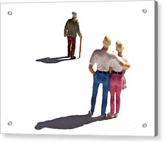 Miniature Figurines Couple Watching Elderly Man Acrylic Print by Bernard Jaubert