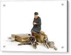 Miniature Figurines Of Elderly Sitting On Padlocks Acrylic Print by Bernard Jaubert