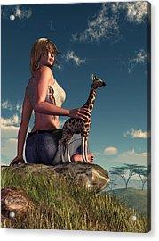 Miniature Giraffe Acrylic Print by Daniel Eskridge