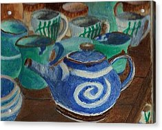 Acrylic Print featuring the painting Miniature Teapots And Cups by Christy Saunders Church