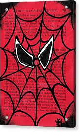 Minimal Spiderman Acrylic Print by Jera Sky