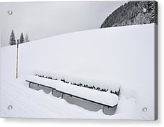 Minimalist Winter Landscape With Lots Of Snow Acrylic Print by Matthias Hauser