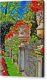 Mirabell Gardens In Salzburg Hdr Acrylic Print by Mary Machare