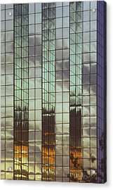 Mirrored Building Acrylic Print by Mark Greenberg