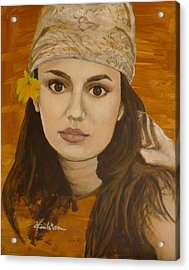 Miss Autumn Marigold Acrylic Print by Veronica Coulston