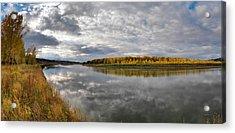Missouri River Autumn Panoramic Acrylic Print by Leland D Howard